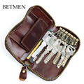BETMEN Vintage Luxury Genuine Leather Men Key Wallet Housekeeper Keys Organizer Women Keychain Covers Zipper Key Case Bag Pouch