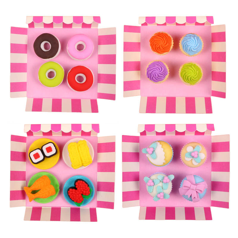 Image 3 - Free ship!1lot=12set!Sweet delicacy cake food rubber eraser / exquisite PVC small box  packing erasers set/ children gift-in Eraser from Office & School Supplies