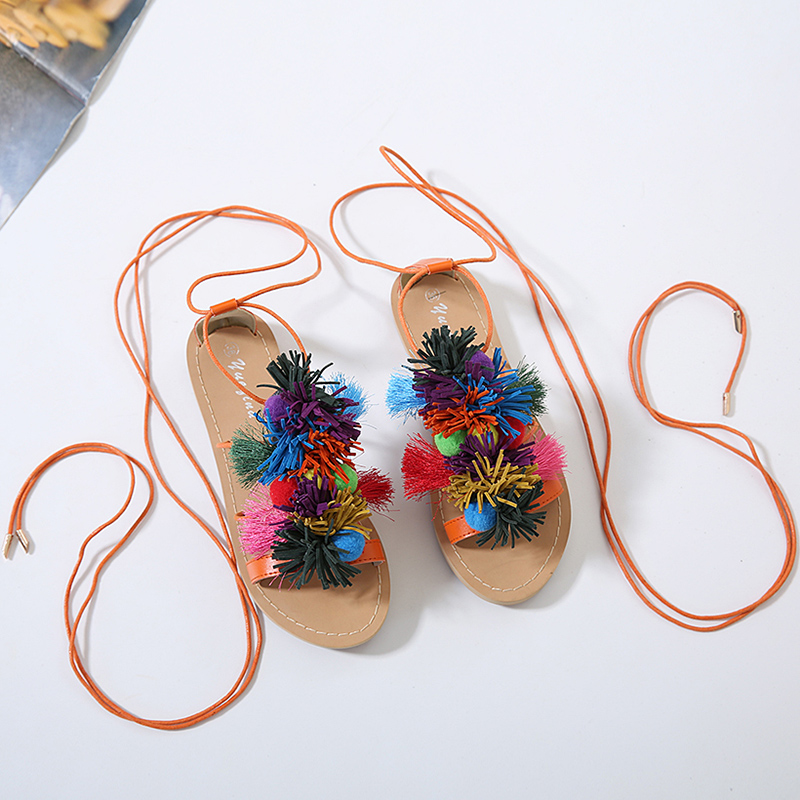Tassel Casual Flat Shoes 2019 Summer Women 39 s Sandals New Ladies Shoes Ankle Strap Female Slip Ons Comfortable Beach Shoes Women in Women 39 s Sandals from Shoes