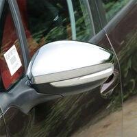 Estilo Do Carro ABS Chrome Para 2014 2015 2016 2017 Peugeot 2008 Acessórios espelho retrovisor guarda protetor de Tampa Guarnição