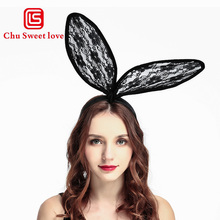 Sweet Sexy Bunny Ears Women Lace Headband Rabbit Ear Hair Band For Party Cosplay Costume Accessory Apparel Decor