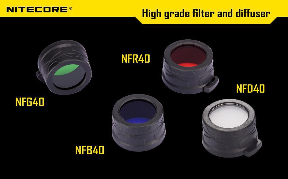 Kostenloser versand 1 stück Nitecore Farbe Filter (40mm) NFR40 NFB40 NFG40 NFD40 geeignet für EA4 P25 taschenlampe mit leiter 40mm