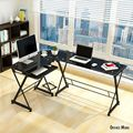 iKayaa US UK FR Stock L-shaped Corner Computer Desk PC Laptop Table Office Tempered Glass 100KG Load Home Office Desks Furniture