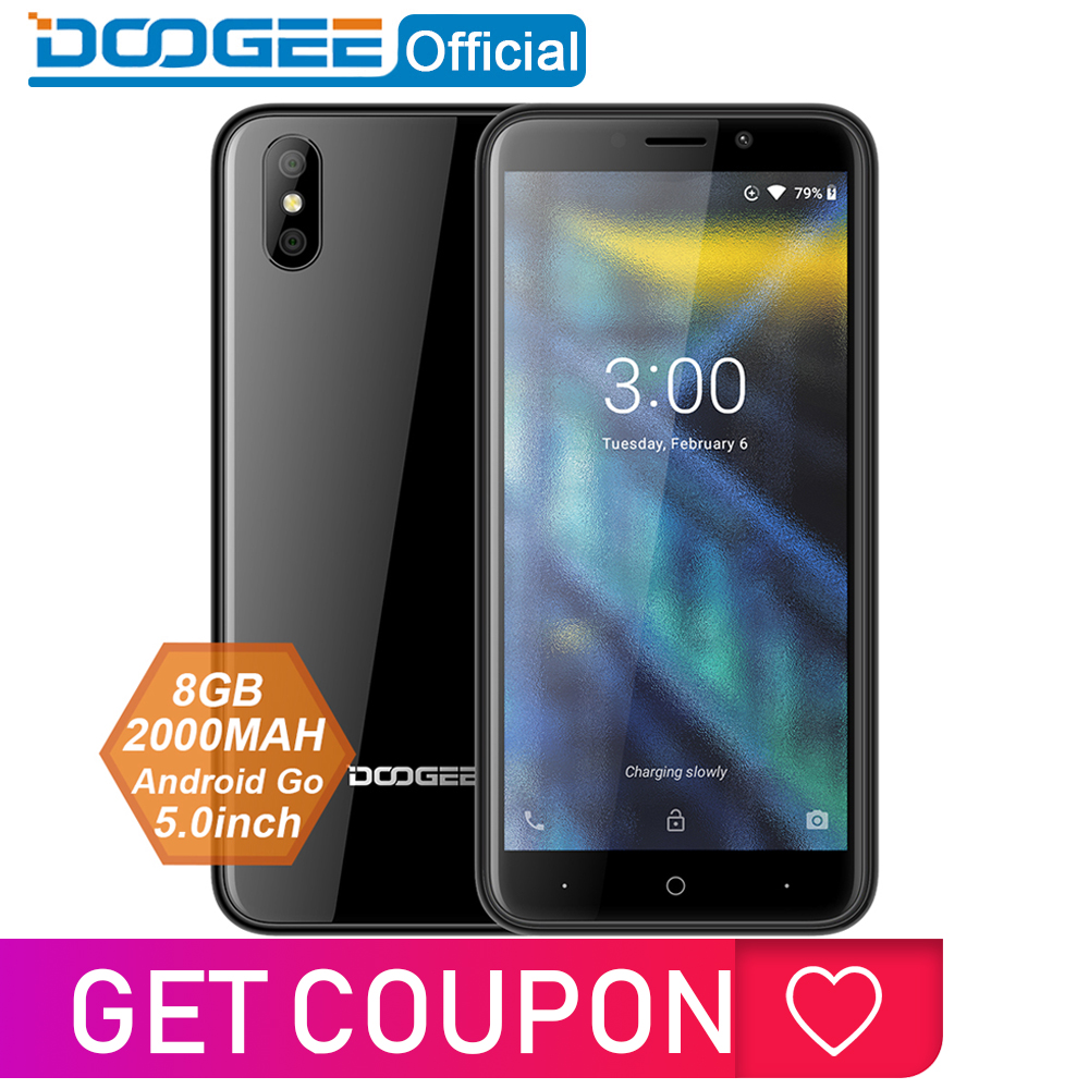 DOOGEE X50 Mobile Phone Android 8.1 MTK6580M Quad-Core 1GB RAM 8GB ROM Dual Cameras 5.0inch 2000mAh Dual SIM Smartphone WCDMA