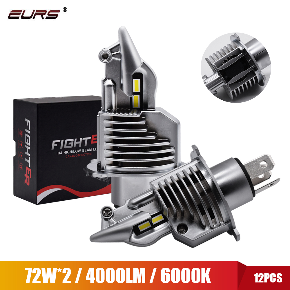Eurs Fighter 2Pcs Foco H4 Led Bulbs Car/motorcycle Headlight 72W 12V 24V 6000K Super Led H4 Car headlight Bulbs lampada Led H4 marking tools