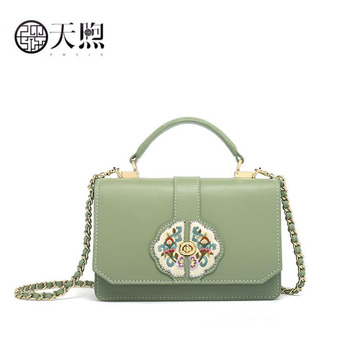 2020 New cowhide luxury leather embroidery bags designer women Leather bag women shoulder crossbody bags for women