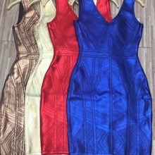 Women Gold Brown Blue Red Bandage dress New Arrival V-Neck Sleeveless Vestidos Celebrity evening Party Bodycon dresses