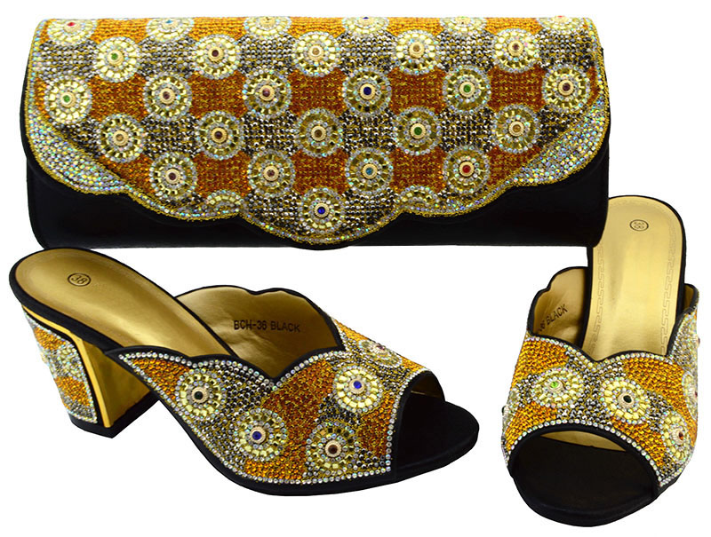 Italian Design Shoes and Bag Set African Ladies Black Shoes and Bag Set Decorated with Stone Women Shoe and Bag To Match  BCH-36 fashion italy design italian matching shoe and bag set african wedding shoe and bag sets women shoe and bag to match tmm1 41