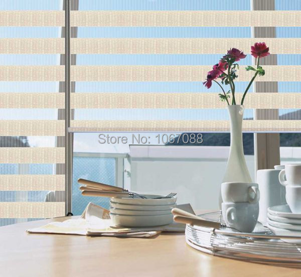 100% polyester eco-friendly translucent zebra blinds in Beige curtains for living room H05-002 31in*48in 5 Colors