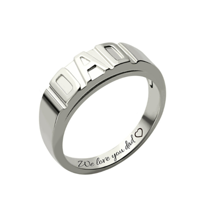 Personnalisé 925 argent nom anneaux couleur or pour toujours amour anneaux de mariage Couple éternité fiançailles hommes femmes anneau # EW50