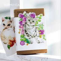 30 Pcs Pack Lovey Cats Blooming Flowers Greeting Card Postcard Birthday Letter Envelope Gift Card Set
