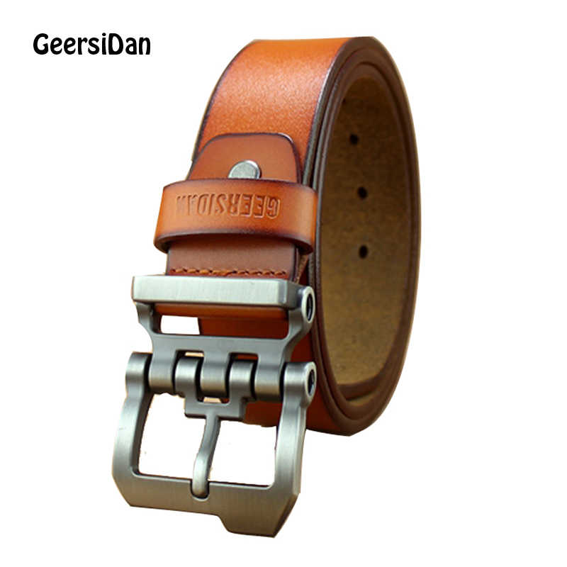 GEERSIDAN New designer high quality luxury brand cowskin genuine leather belts for men male fashion business men pin buckle belt