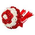 """Красный цвет невесты букет! 12 """" свадьба ну вечеринку невеста букет цветов Purle и цвет слоновой кости кристалл искусственные букет невесты"""