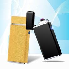 Hot USB Electric Double Arc Lighter Rechargeable Windproof Lighter Cigarette Dual Thunder Pulse Cross Plasma Lighter
