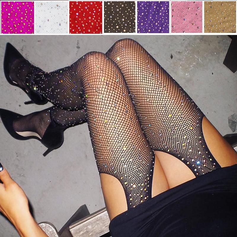 2019 Sexy Women's Glitter Fishnet Tights Open Crotch Mesh Pantyhose Shiny Rhinestone Lady Plus Size Tights Nylons Stockings(China)