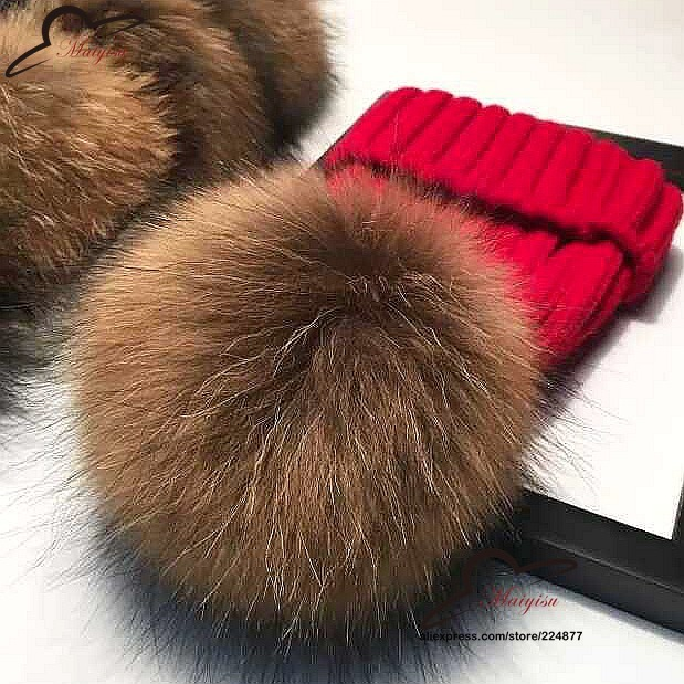 real fur ball cap 15cm pom poms winter hat for women girl  s wool hat  knitted cotton beanies cap brand new thick female cap 5bb939261764
