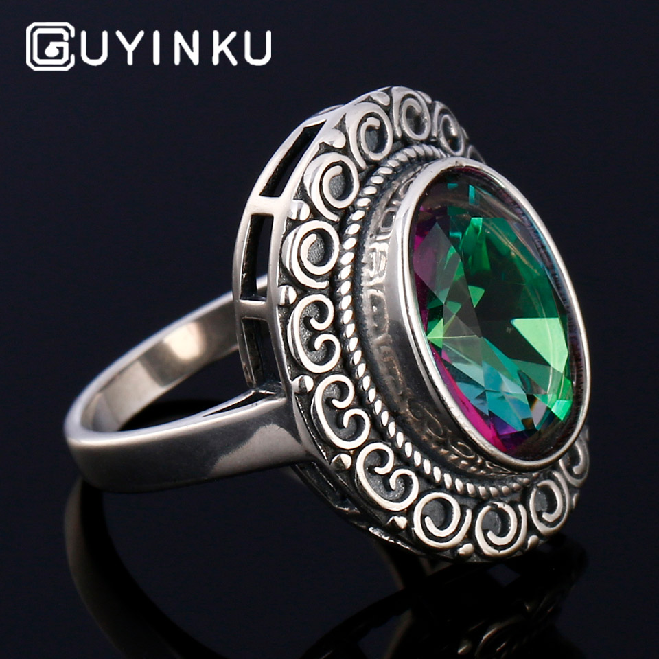 GUYINKU Rainbow Colorful Gemstone 925 Sterling Jewelry Hollow Created Mystic Topaz Rings For Women Wedding Engagement Jewelry