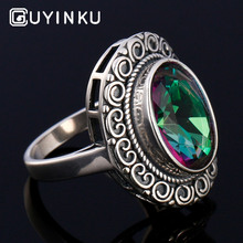 GUYINKU Rainbow Colorful Gemstone 925 Sterling Jewelry Hollow Created Mystic Topaz Rings For Women Wedding Engagement Jewelry guyinku oval created mystic topaz rings rainbow colorful gemstone 925 sterling jewelry for women engagement rings gift