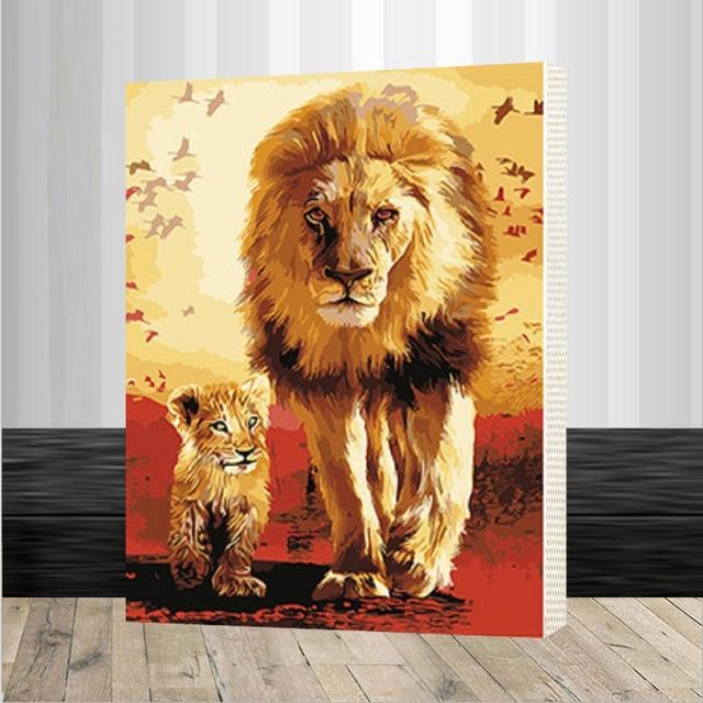 Diy Minyak Lukisan Bingkai Singa Hewan Lukisan Dengan Nomor Kit