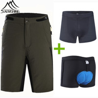 Saenshing MTB Shorts + Cycling Underwear 3D Breathable Gel Padded Quick Dry Downhill Mountain Bike Shorts Men Outdoor Short vtt