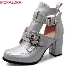 BUCKLE PARTY MORAZORA รองเท้าส้นสูงรองเท้าผู้หญิงปั๊มรอบ