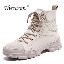 Thestron New Trend High Top Flat Boots Spring Autumn Anti-Slip Women Ankle Winter Comfortable Brand Shoes Boot