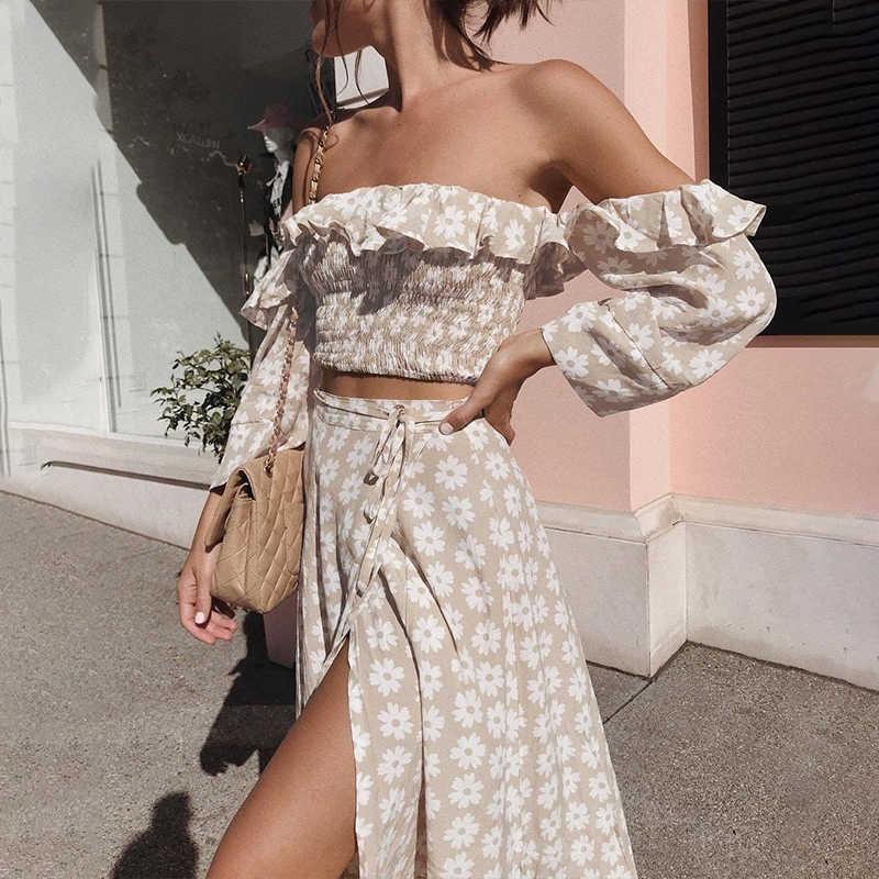 Femajor летнее женское платье с цветочным принтом и рюшами, 2 предмета, костюмы с открытыми плечами, сексуальное длинное платье, женское пляжное платье с высоким разрезом, Vestidos