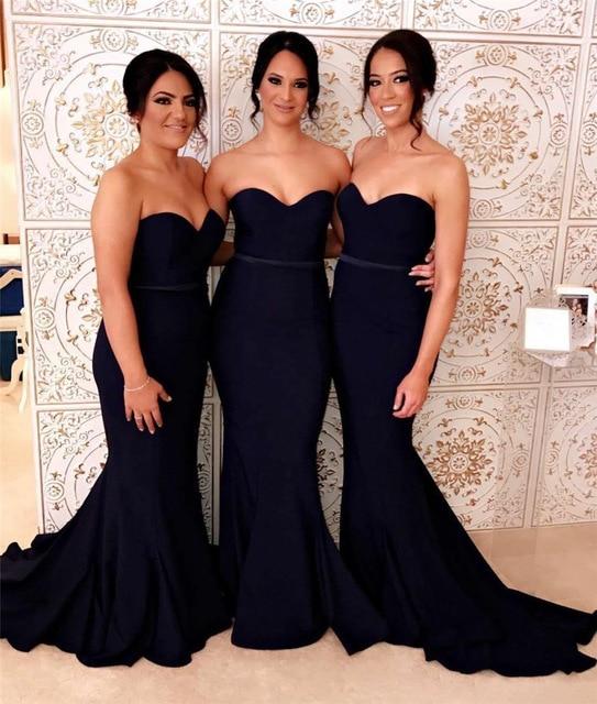 Elegant Navy Blue Mermaid   Bridesmaid     Dresses   2018 Sweetheart Sleeveless Sweep Train Long   Bridesmaid   Gowns Custom Made