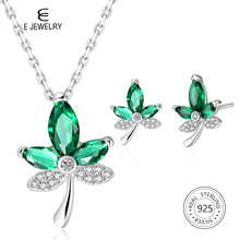 E Jewellry Green Maple Leaf 925 Sterling Silver Pendant Necklace Earrings Jewelry Set with AAA Zircon for Women Girl Dainty Gift u7 100% 925 sterling silver 3d little angel necklace for girl women birthday gift dainty jewelry silver 925 chain