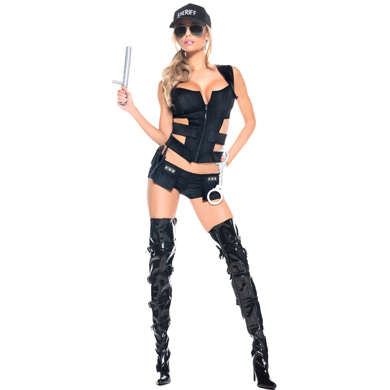 Woman <font><b>Cop</b></font> Costumes Officer Uniform Halloween 2017 Hot <font><b>Sexy</b></font> Sheriff Hat Policewoman Costume Suit For Women W5389076 image