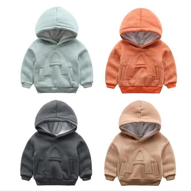 2017 novo, meninos engrossar casaco de malha de veludo, jaqueta com capuz bebê, infantil clothing, roupas de inverno, novo, tendência