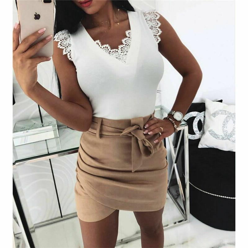 2019 New Summer Sexy V Neck Women's Blouse Ruffles Sleeveless Lace Solid Blouses Slim Top Sweet Blusa Feminina White Black