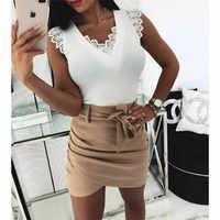2019 novo verão sexy decote em v blusa feminina babados sem mangas rendas blusas sólidas magro topo doce blusa feminina branco preto