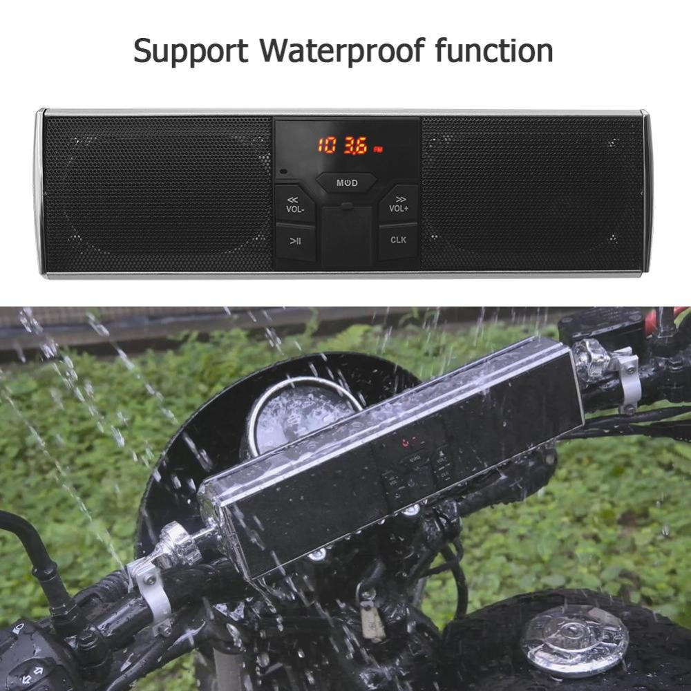 Waterproof Motorcycle Bluetooth Audio Sound System Anti theft LED Display APP Control Music/TF/USB FM Radio Stereo Moto Speaker