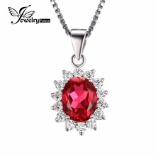 JewelryPalace 2.5ct Ovalado de Rubíes Rojo Colgante Genuino 925 Plata Esterlina Joyería de La Boda de La Princesa Diana William Sin Cadena