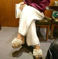 women en's winter mink cashmere knitted trousers warmwide leg pants free shipping