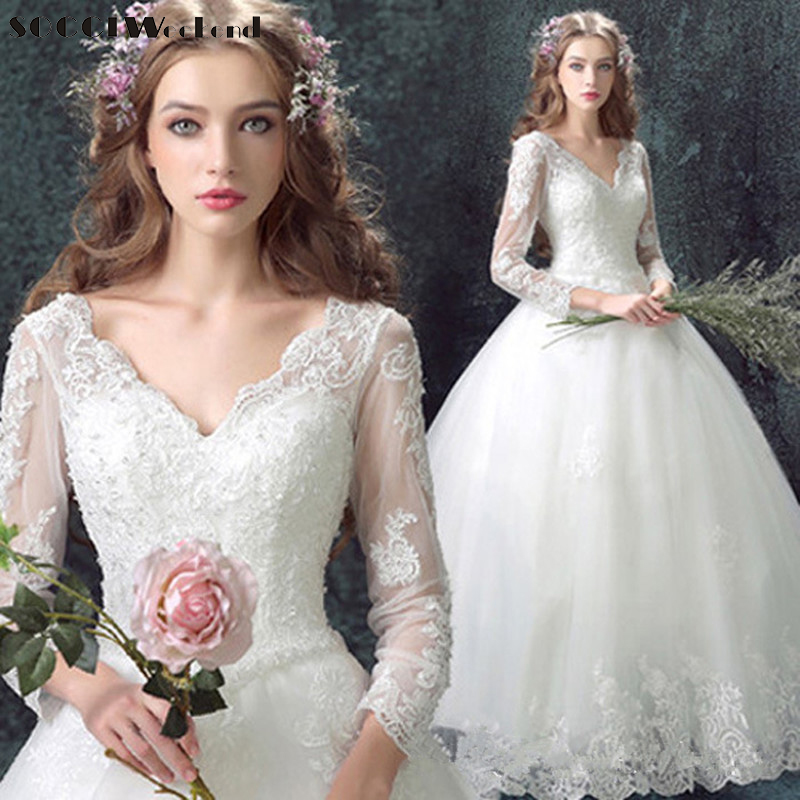 SOCCI Weekend Vintage Beading Long Sleeves Wedding Dresses 2018 Tulle Lace Deep V Neck Dress Rode de Mariage China Bridal gowns