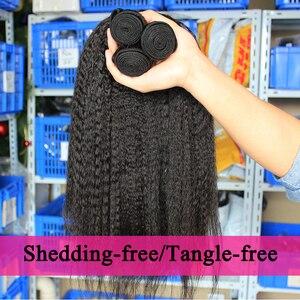 Image 2 - Kinky düz saç brezilyalı bakire saç örgü demetleri kaba Yaki 100% İnsan saç 2 ve 3 demetleri ile kapatma Dolago uzantıları