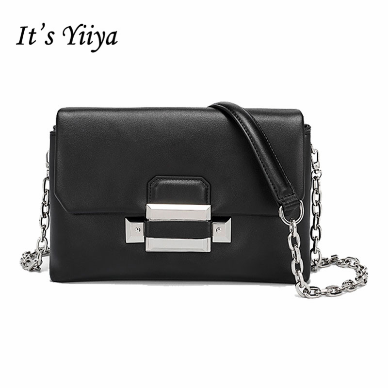 It's YiiYa Sales 3 Colors Women Genuine Leather HandBag Fashion Lady Style Chains Girls Messenger Bags With Solid Bag SS895