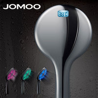 JOMOO Led Shower Head Round Water Temperature Bathroom Led Shower Head Chrome Bath head shower 3 Color and Temperature Display