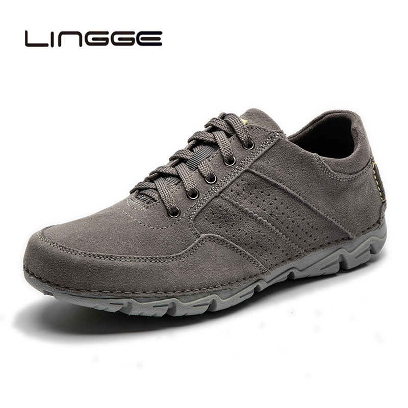 LINGGE Handmade Men Casual Shoes 100 Genuine Leather Men Flats Shoes Fashion Spring Breathable Light Men