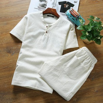 Summer Top men's large size Linen short sleeve t shirt  sets casual v-neck loose two-piece suit t shirts sets  8xl 9XL hip hop