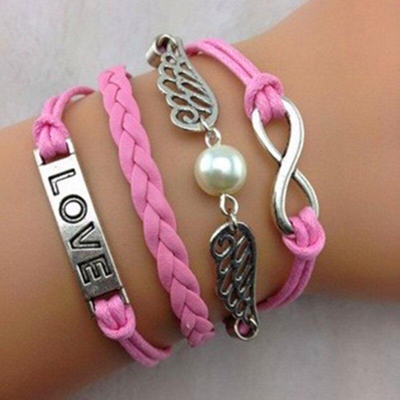 hot selling multi-layer braided bracelets handmade braided leather bracelet imitation pearl bracelet Karma bracelets