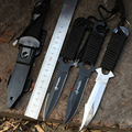 Americano Pierna Wrappings Paracaidista Supervivencia Cuchillo 440C Negro Blanco Hoja Fija Cuchillos Dentados Cortar Cuerda Herramientas Funda De Plástico