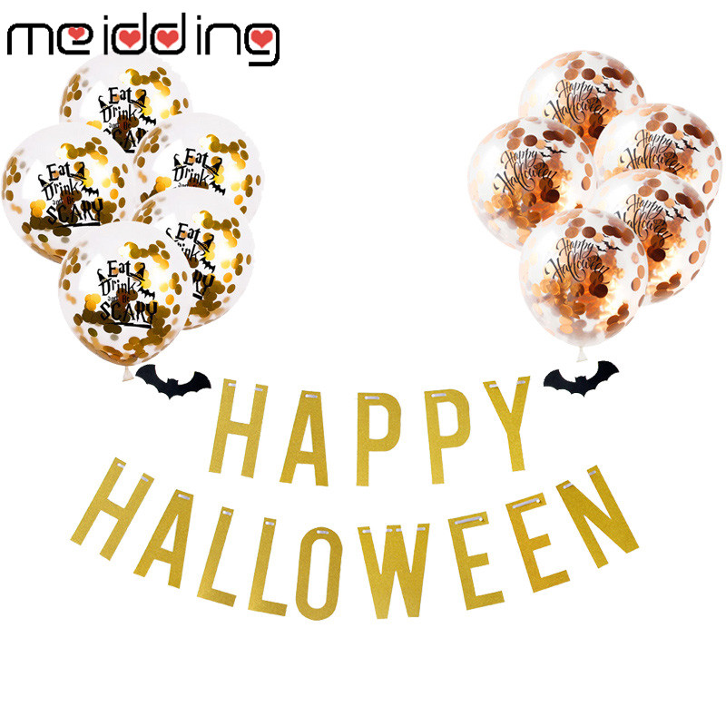 Happy Halloween Latex Balloons Paper Banner 2019 Halloween Decoration Eat Drink and Be Scary Halloween Party Decoration Supplies in Ballons Accessories from Home Garden