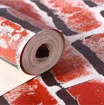 3D Stones Bricks Pattern Wallpaper Living Room Cafe Bar Decor Waterproof Decor Wallpaper /Gray Red Bricks Home improvement 4