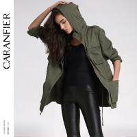 CARANFIER Sunscreen Waterproof Jacket Coat Women Casual Cotton Coats Ultra Thin Solid Color Long Sleeved Zipper