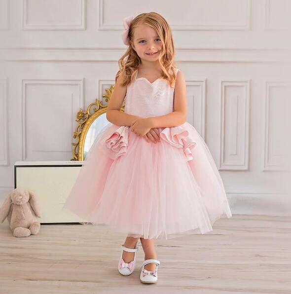 Beautiful Blush pink ball gown baby dress with lace appliques tulle sweetheart girl pageant dress with bow 1st birthday outfit beautiful darkness