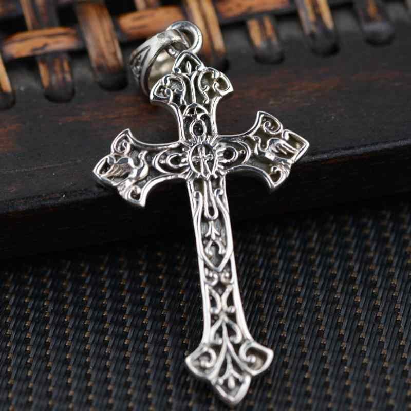 Real 925 เงินสเตอร์ลิงพระเยซูคริสต์ Cross จี้สำหรับชายรูปแบบ Vintage Hollow ออกแบบเครื่องประดับบุรุษอุปกรณ์เสริม