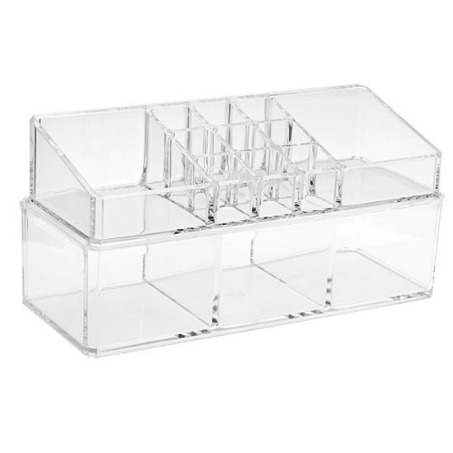TEXU Acrylic Cosmetic Display Stand Storage Case Makeup Double-deck